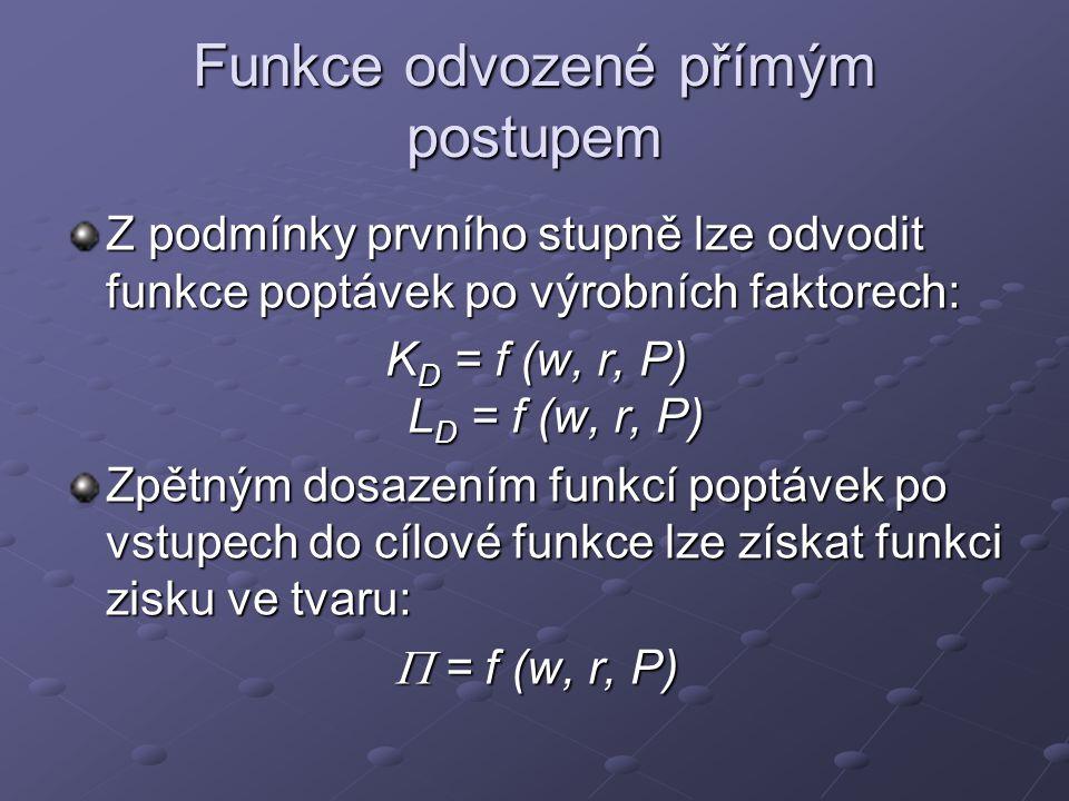 Funkce odvozené přímým postupem Z podmínky prvního stupně lze odvodit funkce poptávek po výrobních faktorech: K D = f (w, r, P) L D = f (w, r, P) Zpět