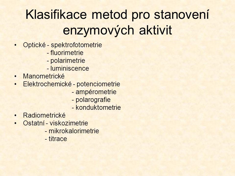 Klasifikace metod pro stanovení enzymových aktivit Optické - spektrofotometrie - fluorimetrie - polarimetrie - luminiscence Manometrické Elektrochemic