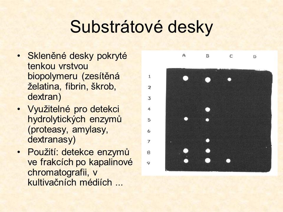 Substrátové desky Skleněné desky pokryté tenkou vrstvou biopolymeru (zesítěná želatina, fibrin, škrob, dextran) Využitelné pro detekci hydrolytických