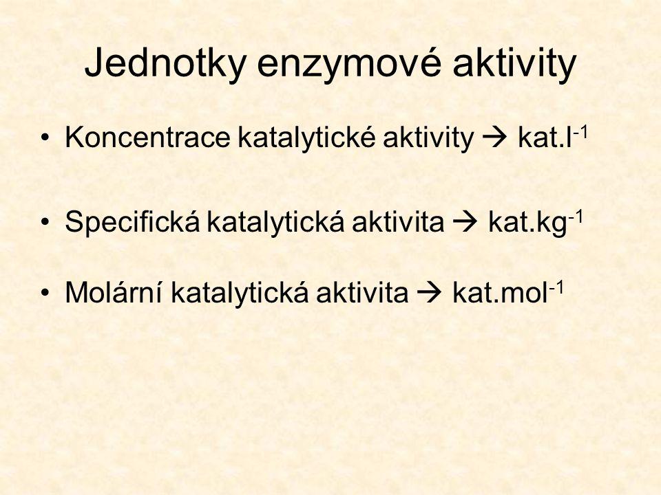Jednotky enzymové aktivity Koncentrace katalytické aktivity  kat.l -1 Specifická katalytická aktivita  kat.kg -1 Molární katalytická aktivita  kat.