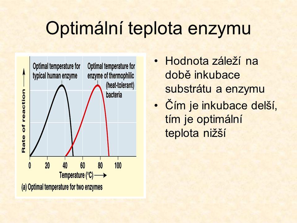 Optimální teplota enzymu Hodnota záleží na době inkubace substrátu a enzymu Čím je inkubace delší, tím je optimální teplota nižší