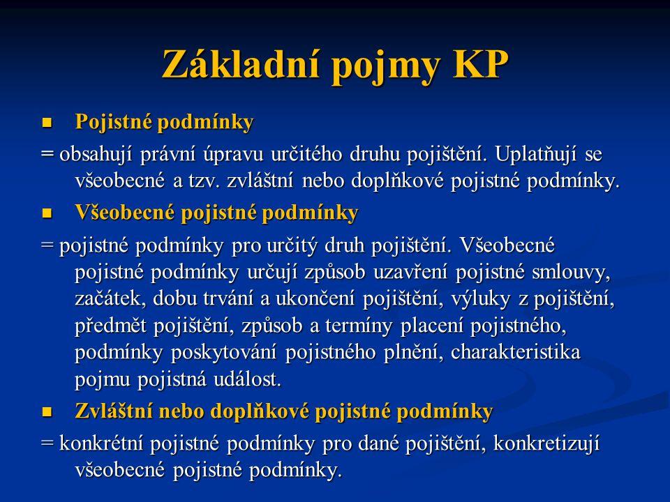 Základní pojmy KP Pojistné podmínky Pojistné podmínky = obsahují právní úpravu určitého druhu pojištění. Uplatňují se všeobecné a tzv. zvláštní nebo d