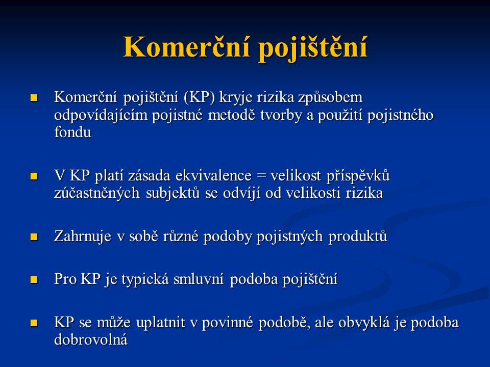 Komerční pojištění Komerční pojištění (KP) kryje rizika způsobem odpovídajícím pojistné metodě tvorby a použití pojistného fondu Komerční pojištění (K