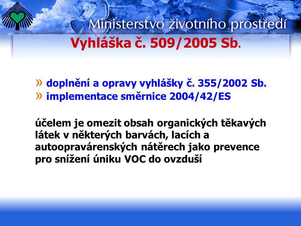 Vyhláška č. 509/2005 Sb. » doplnění a opravy vyhlášky č. 355/2002 Sb. » implementace směrnice 2004/42/ES účelem je omezit obsah organických těkavých l