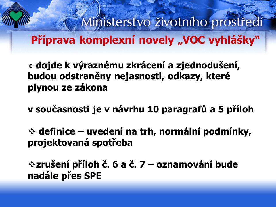 """Příprava komplexní novely """"VOC vyhlášky""""  dojde k výraznému zkrácení a zjednodušení, budou odstraněny nejasnosti, odkazy, které plynou ze zákona v so"""
