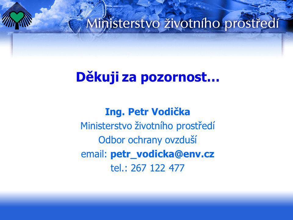 Děkuji za pozornost… Ing. Petr Vodička Ministerstvo životního prostředí Odbor ochrany ovzduší email: petr_vodicka@env.cz tel.: 267 122 477
