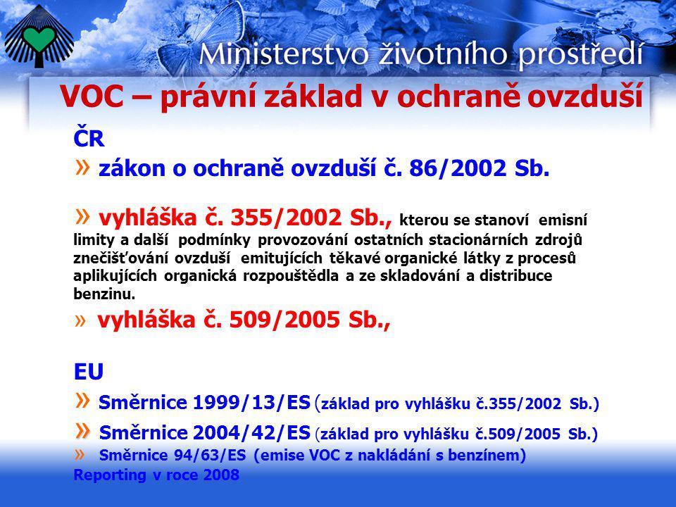 VOC – právní základ v ochraně ovzduší ČR » zákon o ochraně ovzduší č. 86/2002 Sb. » vyhláška č. 355/2002 Sb., kterou se stanoví emisní limity a další