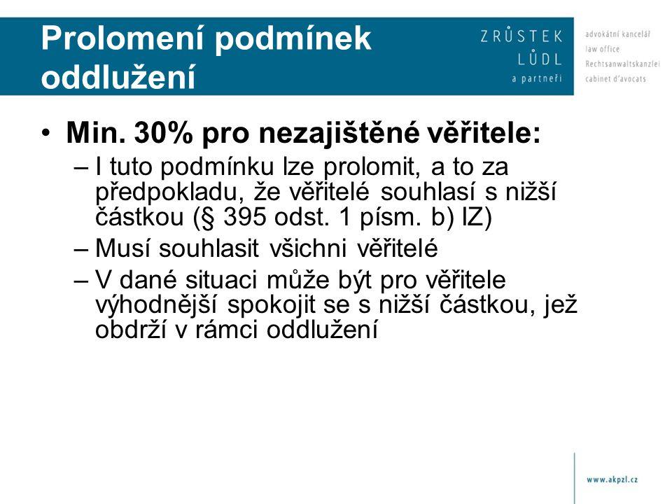Prolomení podmínek oddlužení Min. 30% pro nezajištěné věřitele: –I tuto podmínku lze prolomit, a to za předpokladu, že věřitelé souhlasí s nižší částk