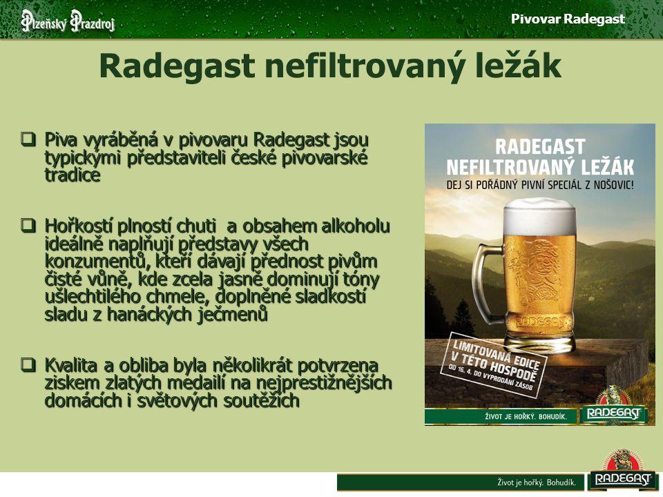 Pivovar Radegast Radegast nefiltrovaný ležák  Piva vyráběná v pivovaru Radegast jsou typickými představiteli české pivovarské tradice  Hořkostí plností chuti a obsahem alkoholu ideálně naplňují představy všech konzumentů, kteří dávají přednost pivům čisté vůně, kde zcela jasně dominují tóny ušlechtilého chmele, doplněné sladkostí sladu z hanáckých ječmenů  Kvalita a obliba byla několikrát potvrzena ziskem zlatých medailí na nejprestižnějších domácích i světových soutěžích