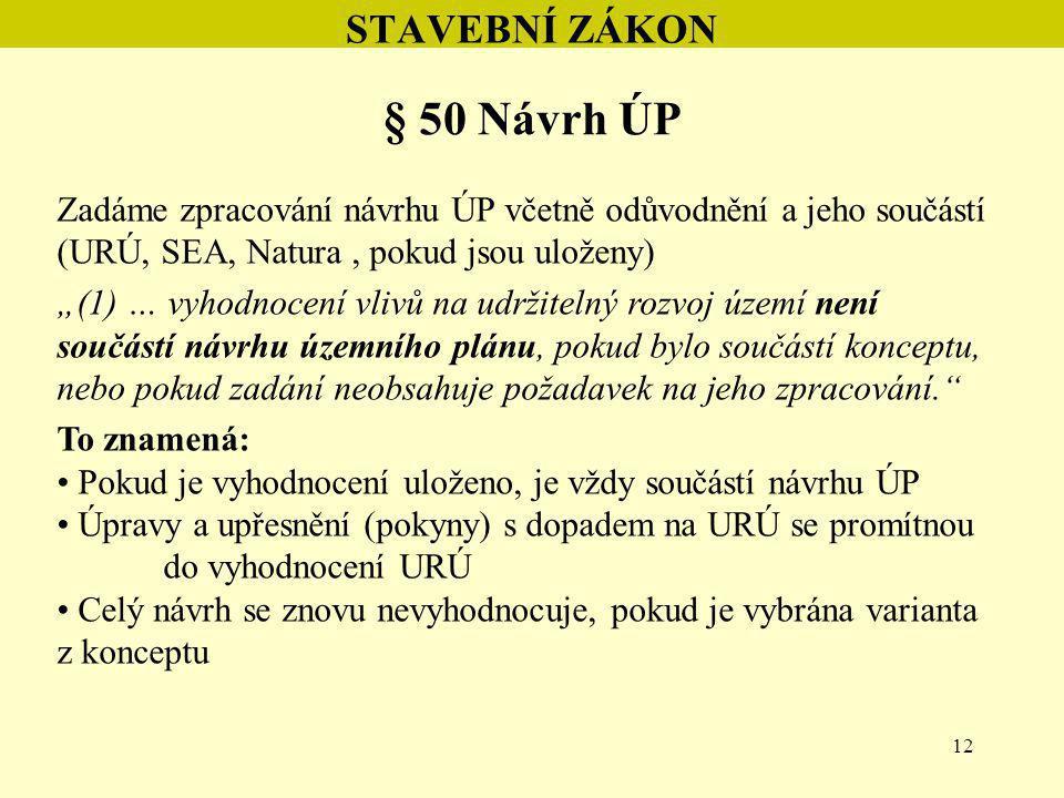 """12 STAVEBNÍ ZÁKON § 50 Návrh ÚP Zadáme zpracování návrhu ÚP včetně odůvodnění a jeho součástí (URÚ, SEA, Natura, pokud jsou uloženy) """"(1) … vyhodnocen"""