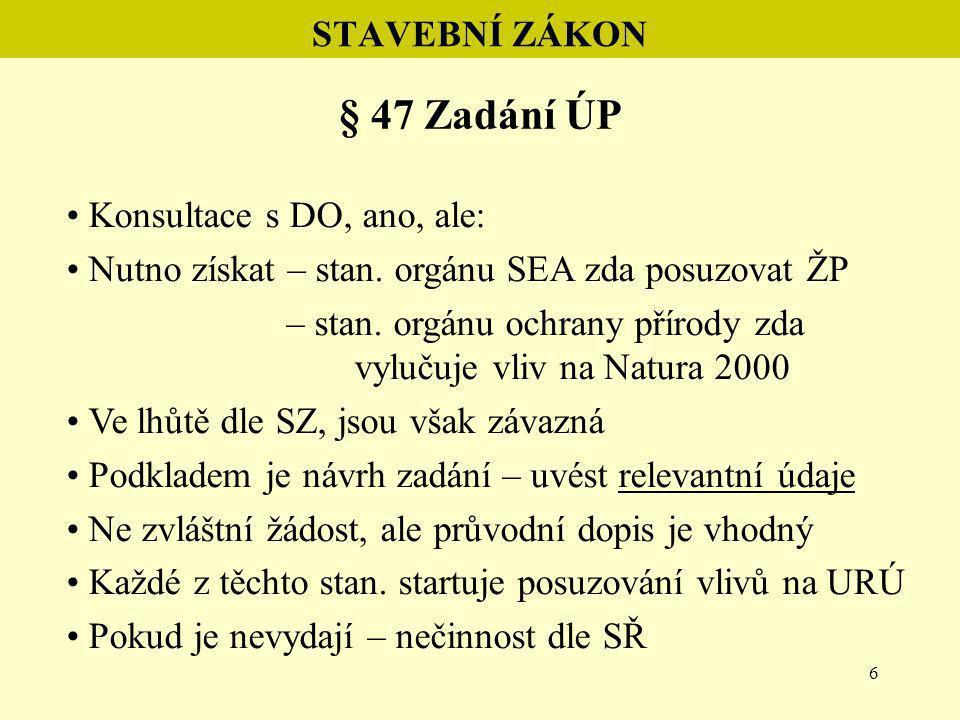 7 STAVEBNÍ ZÁKON § 47 Zadání ÚP Pokud stanovisko orgánu SEA požaduje posuzování:  doplníme požadavek na vyhodnocení vlivů na URÚ vč.