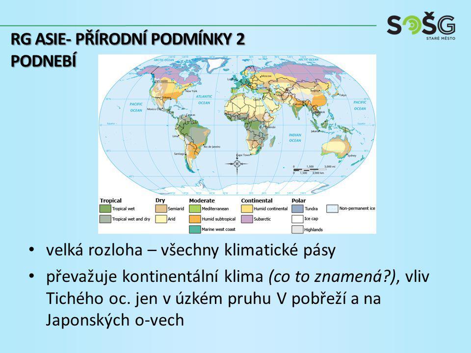 velká rozloha – všechny klimatické pásy převažuje kontinentální klima (co to znamená ), vliv Tichého oc.