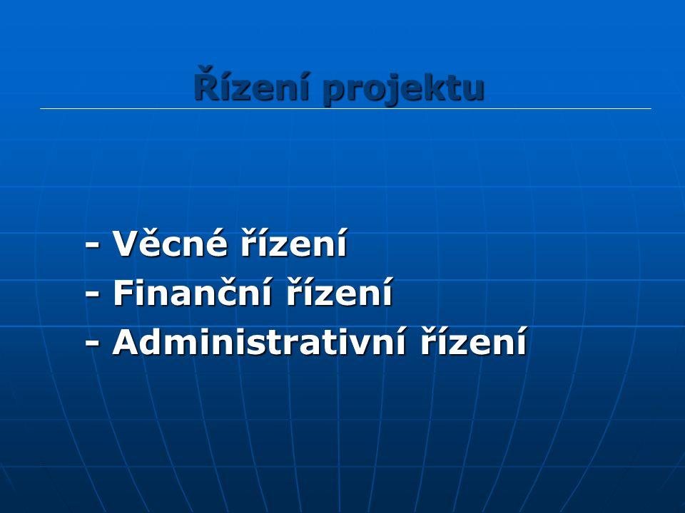 - Věcné řízení - Věcné řízení - Finanční řízení - Finanční řízení - Administrativní řízení - Administrativní řízení Řízení projektu