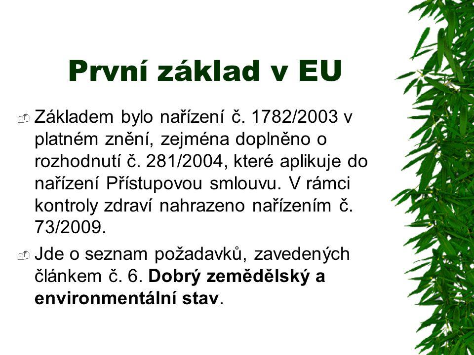 První základ v EU  Základem bylo nařízení č. 1782/2003 v platném znění, zejména doplněno o rozhodnutí č. 281/2004, které aplikuje do nařízení Přístup