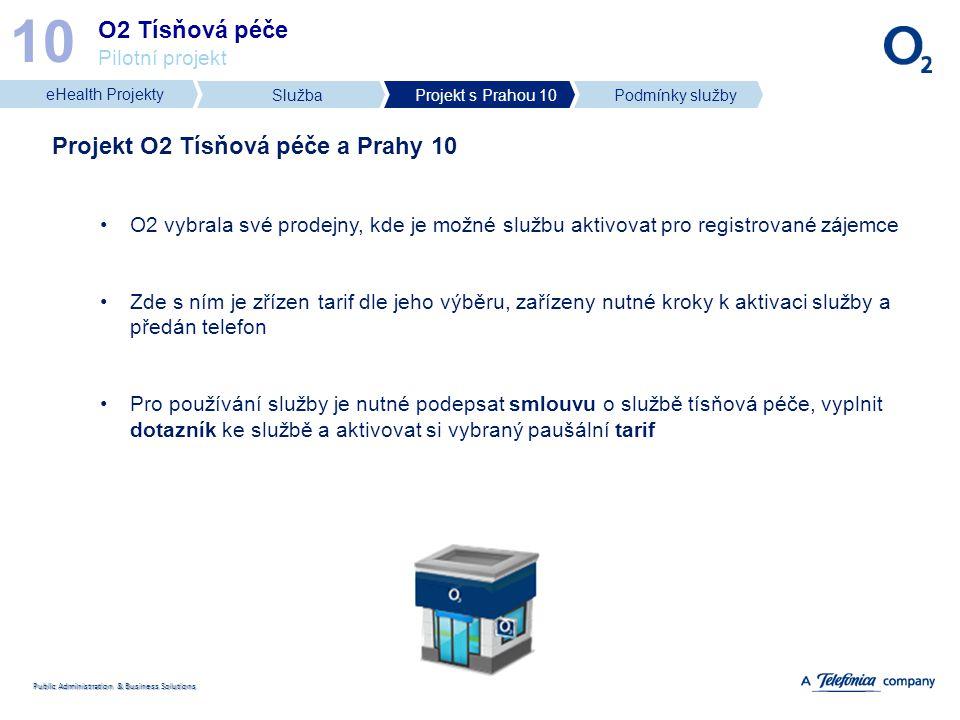 Public Administration & Business Solutions O2 Tísňová péče Pilotní projekt 10 Projekt O2 Tísňová péče a Prahy 10 O2 vybrala své prodejny, kde je možné