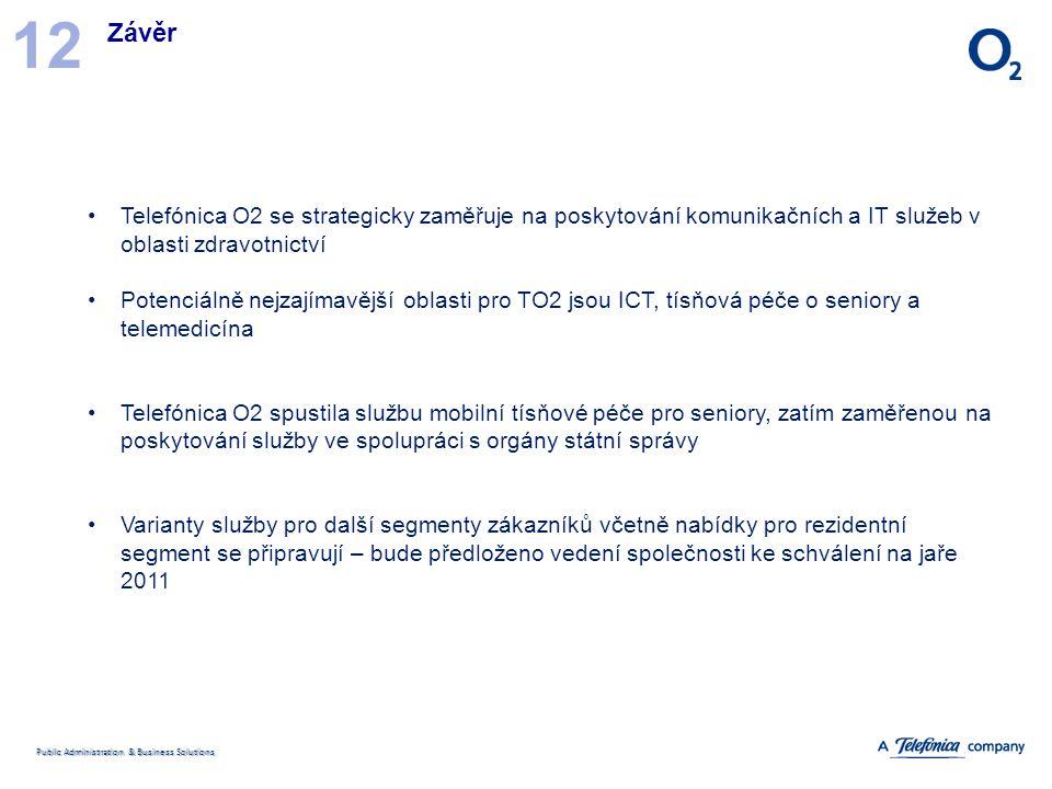 Public Administration & Business Solutions Závěr 12 Telefónica O2 se strategicky zaměřuje na poskytování komunikačních a IT služeb v oblasti zdravotni