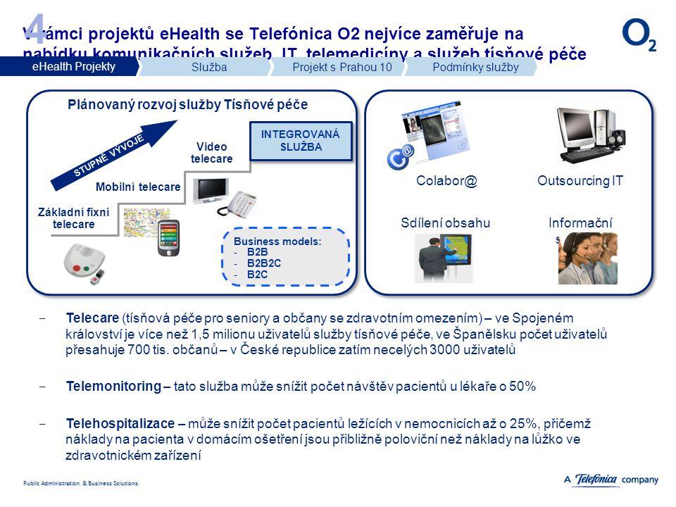 Public Administration & Business Solutions V rámci projektů eHealth se Telefónica O2 nejvíce zaměřuje na nabídku komunikačních služeb, IT, telemedicín