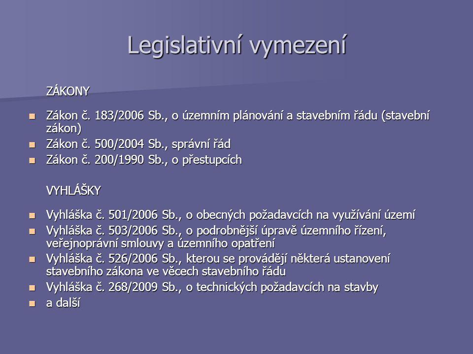 Legislativní vymezení ZÁKONY Zákon č. 183/2006 Sb., o územním plánování a stavebním řádu (stavební zákon) Zákon č. 183/2006 Sb., o územním plánování a