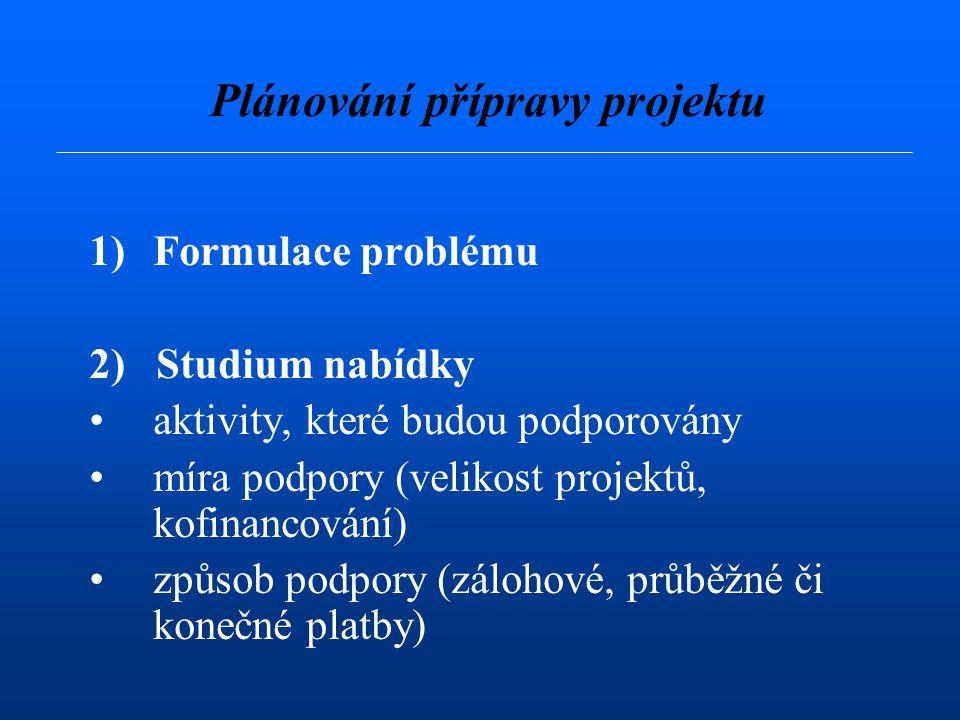 Plánování přípravy projektu 1)Formulace problému 2) Studium nabídky aktivity, které budou podporovány míra podpory (velikost projektů, kofinancování) způsob podpory (zálohové, průběžné či konečné platby)