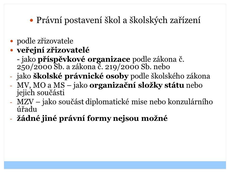 Právní postavení škol a školských zařízení podle zřizovatele veřejní zřizovatelé - jako příspěvkové organizace podle zákona č. 250/2000 Sb. a zákona č