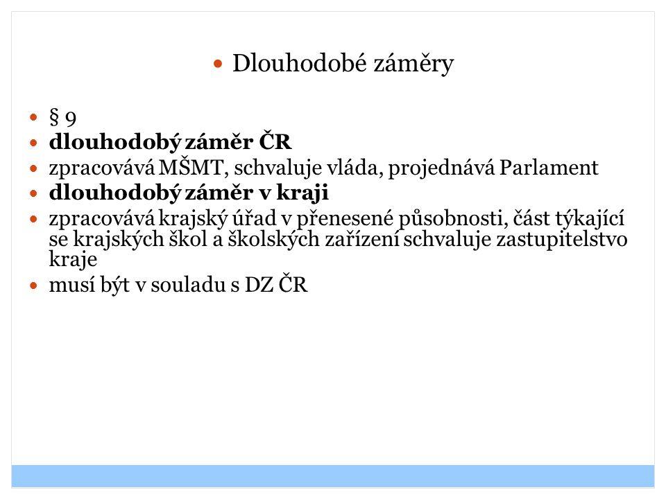 Dlouhodobé záměry § 9 dlouhodobý záměr ČR zpracovává MŠMT, schvaluje vláda, projednává Parlament dlouhodobý záměr v kraji zpracovává krajský úřad v př