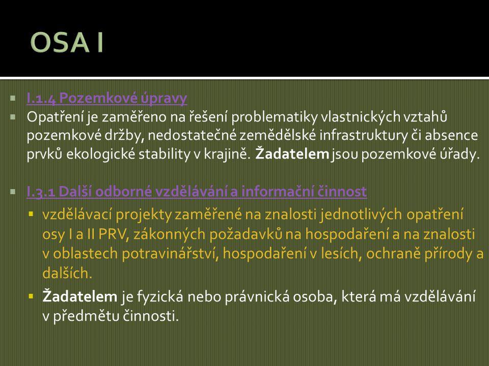  I.1.4 Pozemkové úpravy I.1.4 Pozemkové úpravy  Opatření je zaměřeno na řešení problematiky vlastnických vztahů pozemkové držby, nedostatečné zemědě