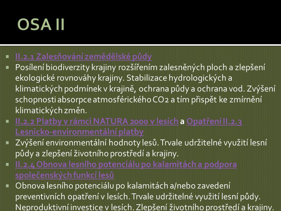  II.2.1 Zalesňování zemědělské půdy II.2.1 Zalesňování zemědělské půdy  Posílení biodiverzity krajiny rozšířením zalesněných ploch a zlepšení ekolog