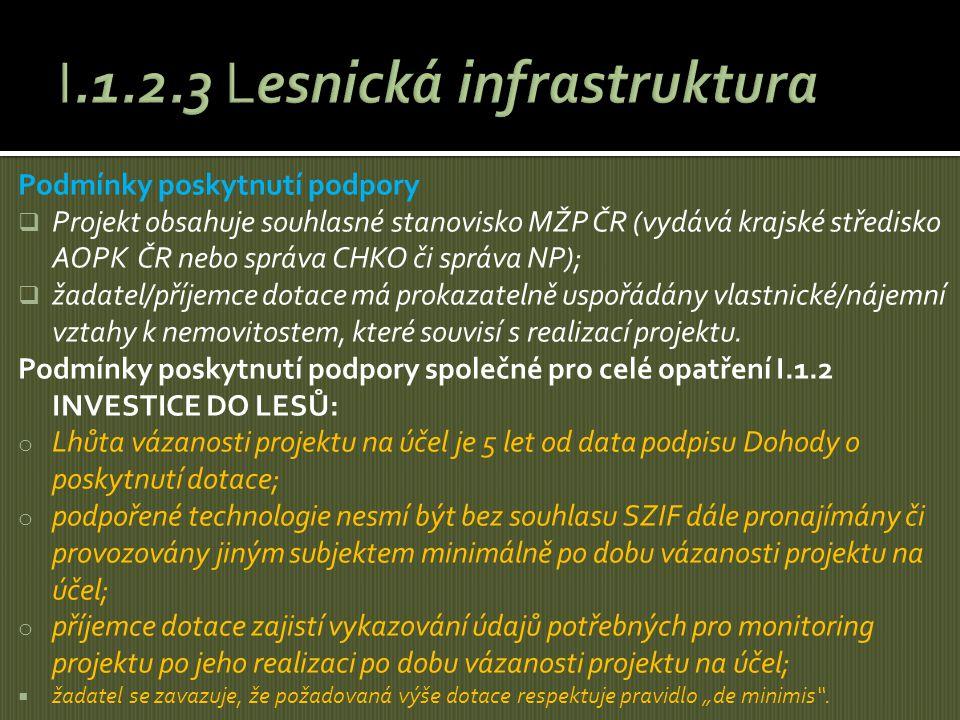 Podmínky poskytnutí podpory  Projekt obsahuje souhlasné stanovisko MŽP ČR (vydává krajské středisko AOPK ČR nebo správa CHKO či správa NP);  žadatel