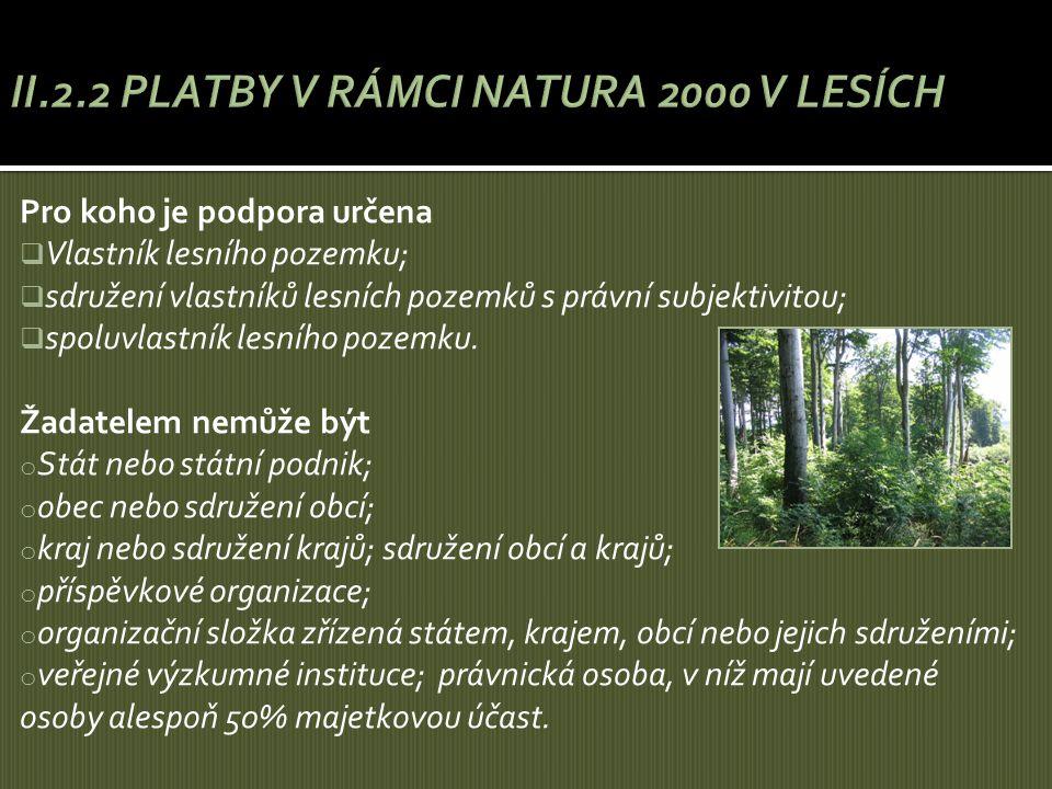 Pro koho je podpora určena  Vlastník lesního pozemku;  sdružení vlastníků lesních pozemků s právní subjektivitou;  spoluvlastník lesního pozemku. Ž