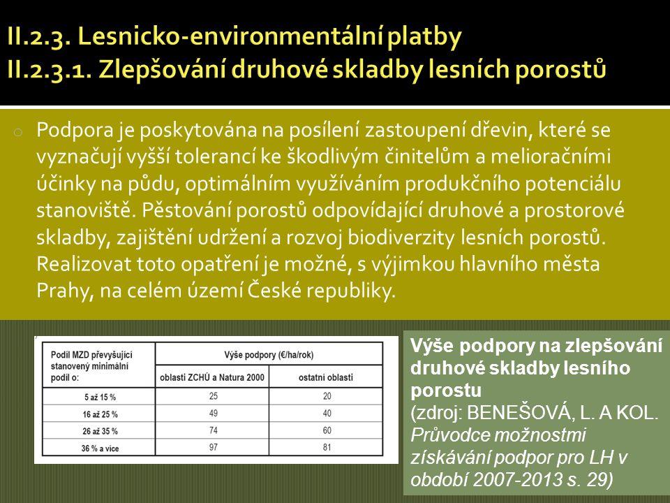 o Podpora je poskytována na posílení zastoupení dřevin, které se vyznačují vyšší tolerancí ke škodlivým činitelům a melioračními účinky na půdu, optim