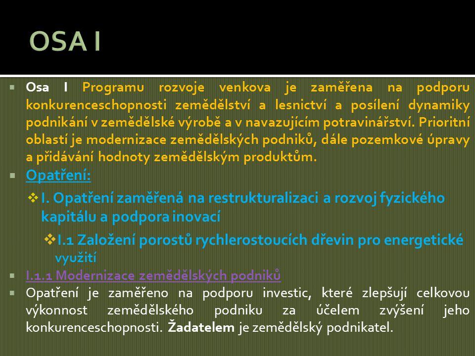  Osa I Programu rozvoje venkova je zaměřena na podporu konkurenceschopnosti zemědělství a lesnictví a posílení dynamiky podnikání v zemědělské výrobě