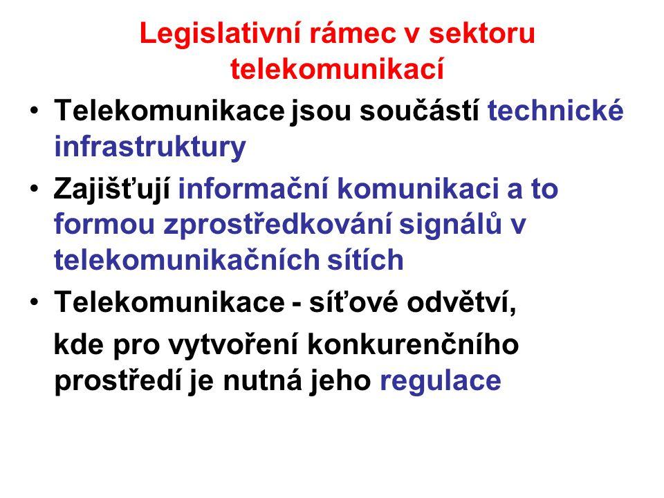 Legislativní rámec v sektoru telekomunikací Telekomunikace jsou součástí technické infrastruktury Zajišťují informační komunikaci a to formou zprostře