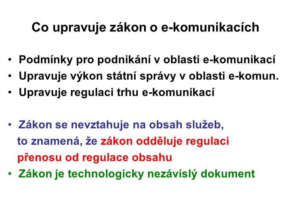 Co upravuje zákon o e-komunikacích Podmínky pro podnikání v oblasti e-komunikací Upravuje výkon státní správy v oblasti e-komun. Upravuje regulaci trh