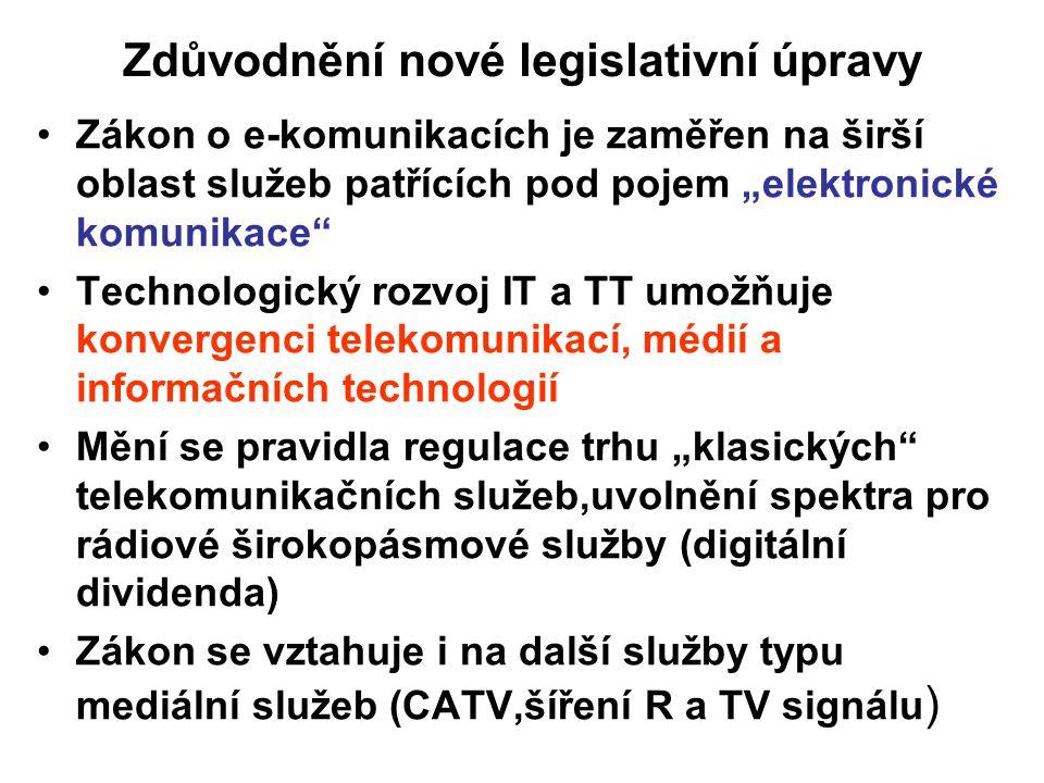 """Zdůvodnění nové legislativní úpravy Zákon o e-komunikacích je zaměřen na širší oblast služeb patřících pod pojem """"elektronické komunikace"""" Technologic"""