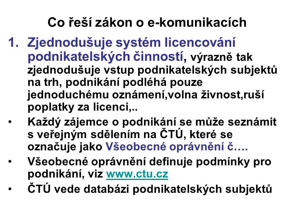 Co řeší zákon o e-komunikacích 1.Zjednodušuje systém licencování podnikatelských činností, výrazně tak zjednodušuje vstup podnikatelských subjektů na