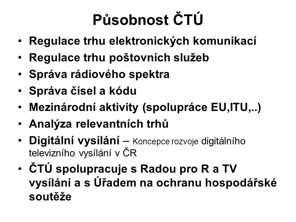 Působnost ČTÚ Regulace trhu elektronických komunikací Regulace trhu poštovních služeb Správa rádiového spektra Správa čísel a kódu Mezinárodní aktivit