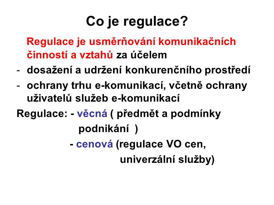 Co je regulace? Regulace je usměrňování komunikačních činností a vztahů za účelem -dosažení a udržení konkurenčního prostředí -ochrany trhu e-komunika