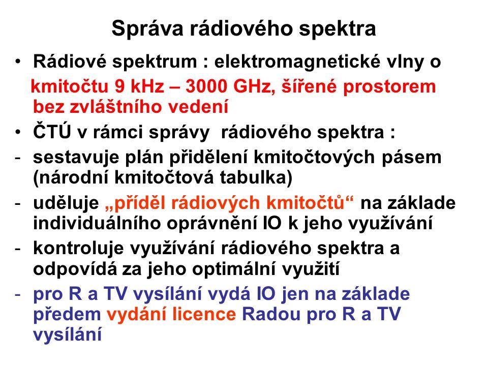 Správa rádiového spektra Rádiové spektrum : elektromagnetické vlny o kmitočtu 9 kHz – 3000 GHz, šířené prostorem bez zvláštního vedení ČTÚ v rámci spr