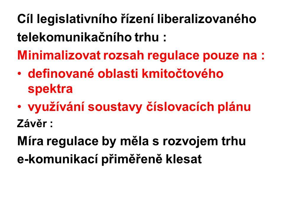 Cíl legislativního řízení liberalizovaného telekomunikačního trhu : Minimalizovat rozsah regulace pouze na : definované oblasti kmitočtového spektra v