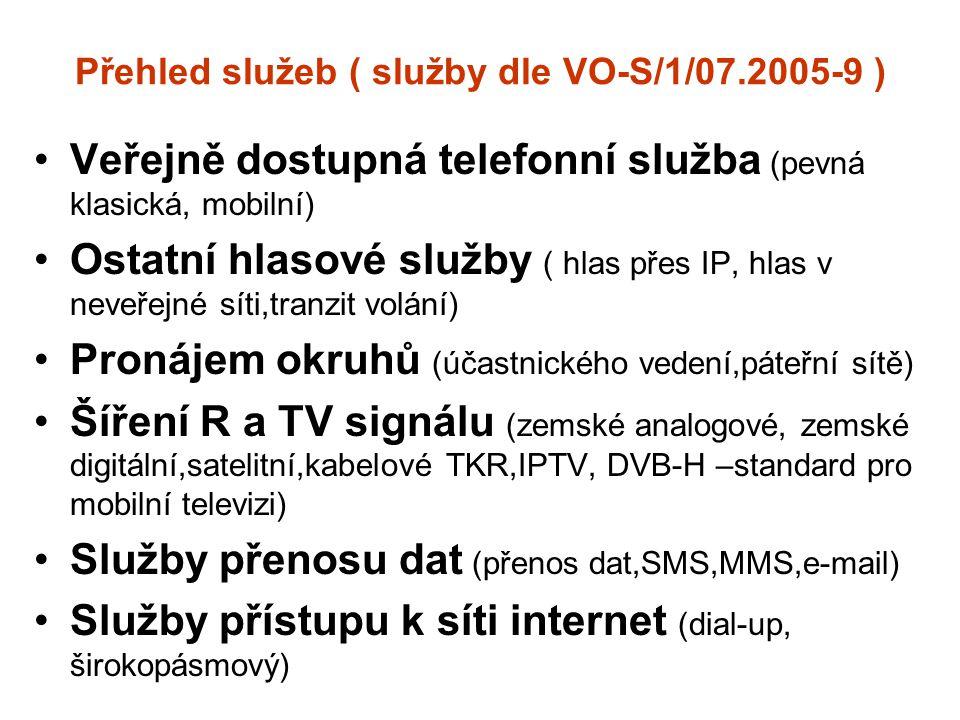 Přehled služeb ( služby dle VO-S/1/07.2005-9 ) Veřejně dostupná telefonní služba (pevná klasická, mobilní) Ostatní hlasové služby ( hlas přes IP, hlas