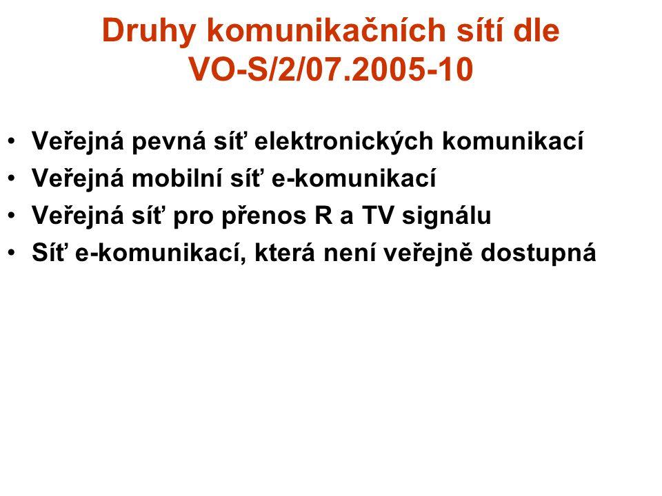 Druhy komunikačních sítí dle VO-S/2/07.2005-10 Veřejná pevná síť elektronických komunikací Veřejná mobilní síť e-komunikací Veřejná síť pro přenos R a