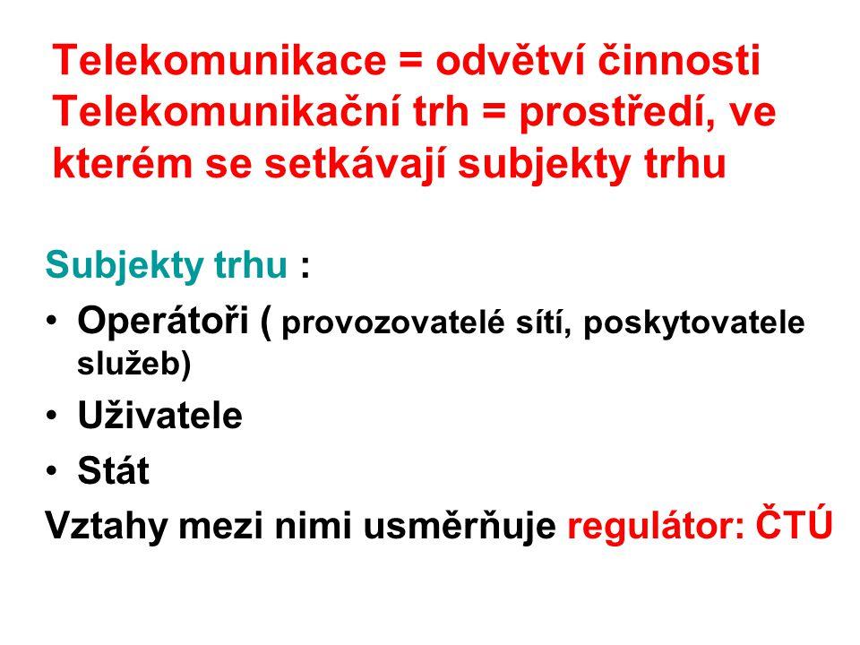 Telekomunikace = odvětví činnosti Telekomunikační trh = prostředí, ve kterém se setkávají subjekty trhu Subjekty trhu : Operátoři ( provozovatelé sítí