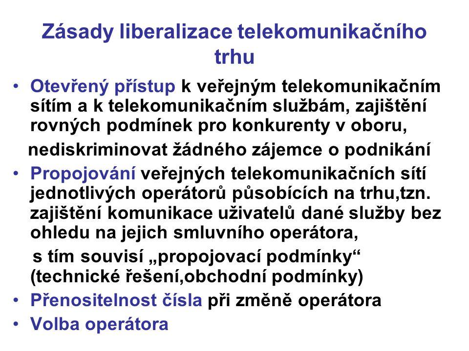 Zásady liberalizace telekomunikačního trhu Otevřený přístup k veřejným telekomunikačním sítím a k telekomunikačním službám, zajištění rovných podmínek