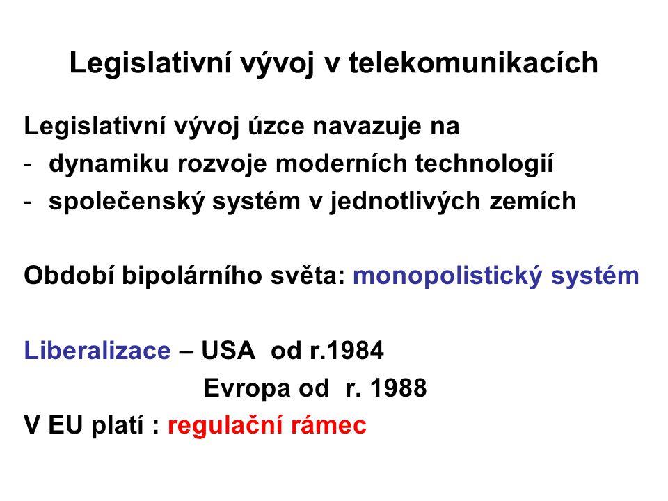 Legislativní vývoj v telekomunikacích Legislativní vývoj úzce navazuje na -dynamiku rozvoje moderních technologií -společenský systém v jednotlivých z