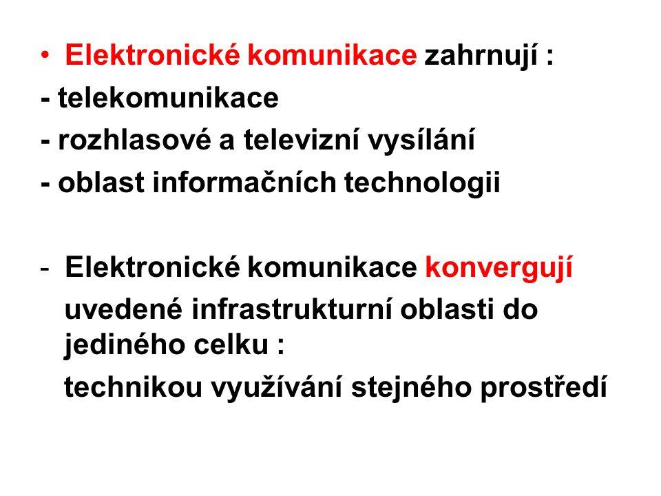 Elektronické komunikace zahrnují : - telekomunikace - rozhlasové a televizní vysílání - oblast informačních technologii -Elektronické komunikace konve