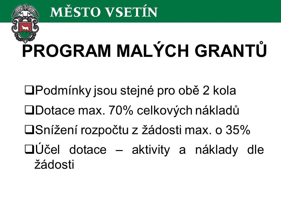 PROGRAM MALÝCH GRANTŮ  Podmínky jsou stejné pro obě 2 kola  Dotace max.