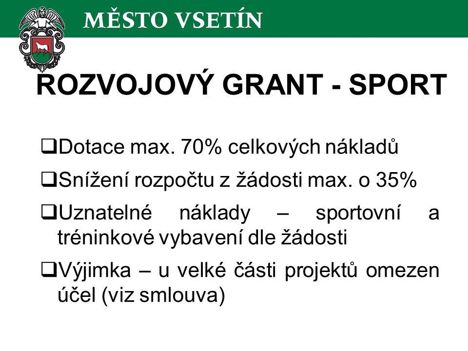 ROZVOJOVÝ GRANT - SPORT  Dotace max. 70% celkových nákladů  Snížení rozpočtu z žádosti max.