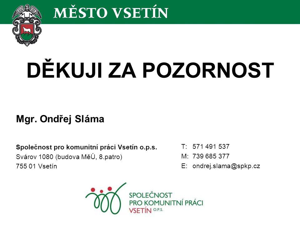 DĚKUJI ZA POZORNOST Mgr. Ondřej Sláma Společnost pro komunitní práci Vsetín o.p.s.