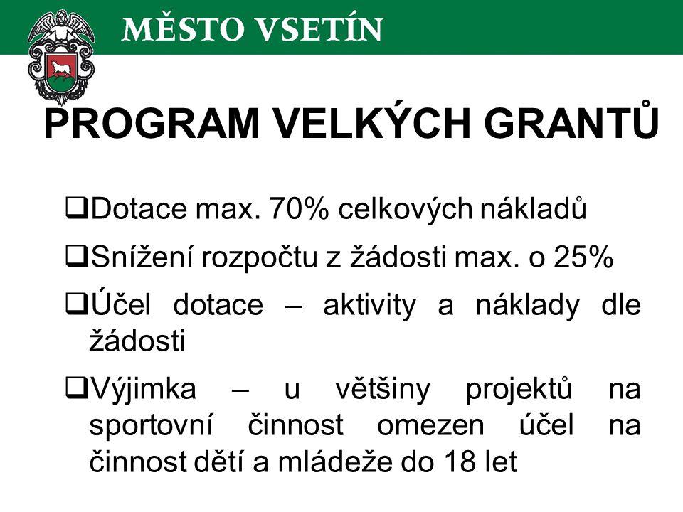 PROGRAM VELKÝCH GRANTŮ  Dotace max. 70% celkových nákladů  Snížení rozpočtu z žádosti max.