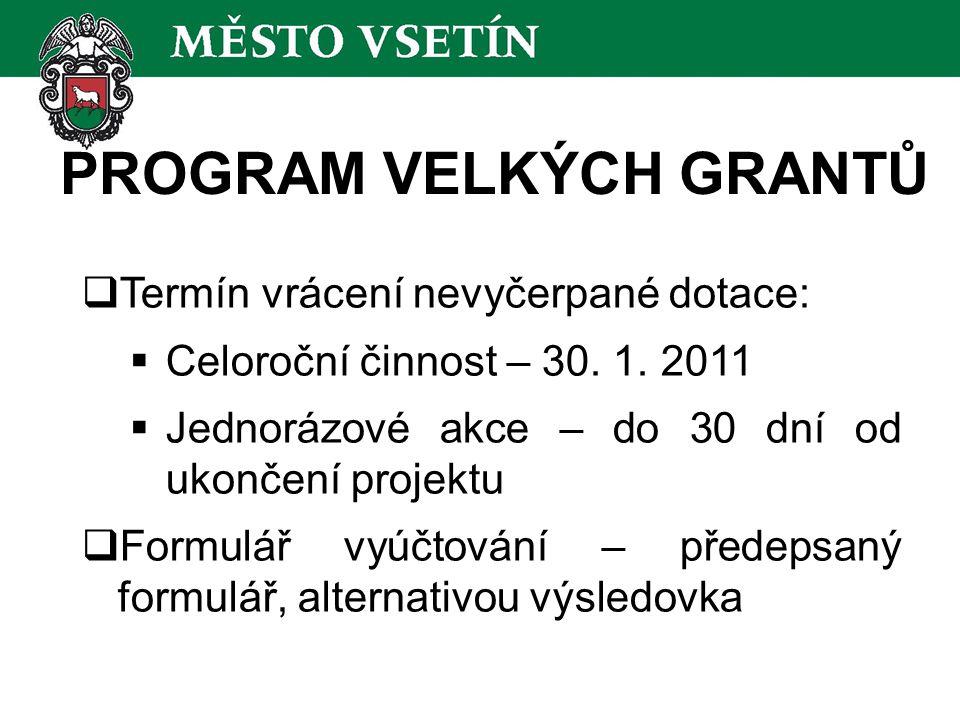 PROGRAM VELKÝCH GRANTŮ  Termín vrácení nevyčerpané dotace:  Celoroční činnost – 30.